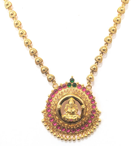 Micro Gold polished Goddess Lakshmi Pendant with gold heart Necklace