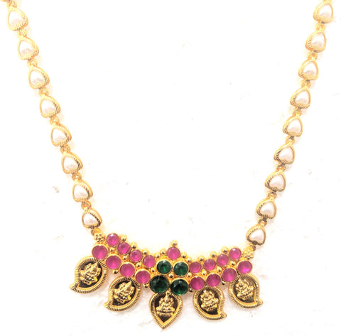 Micro Gold polished kemp stone Goddess Lakshmi Mango Pendant with pearl heart Necklace