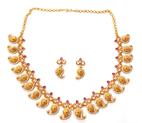 Mango matte gold finish choker Necklace and Earring set
