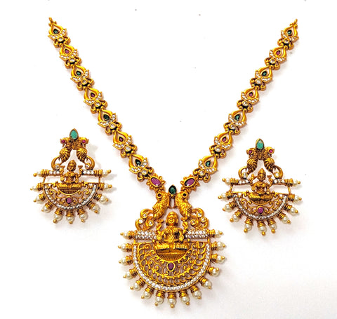 Goddess Lakshmi matte gold finish choker Necklace and Earring set