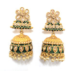 Honey yellow polki stone matte meenakari finish antique jhumka earring