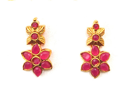 Small flower matte gold finish stud earring