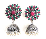 Large sunflower stud oxidized jhumka Earring with pearl bead hanging