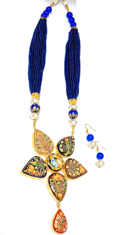 Hand painted Radha Krishna pendant seed bead Necklace and Earrings set
