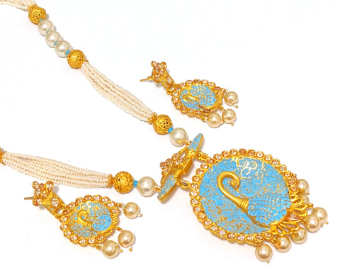 Bright gold matte finish Peacock pendant necklace and earring set - Simpliful