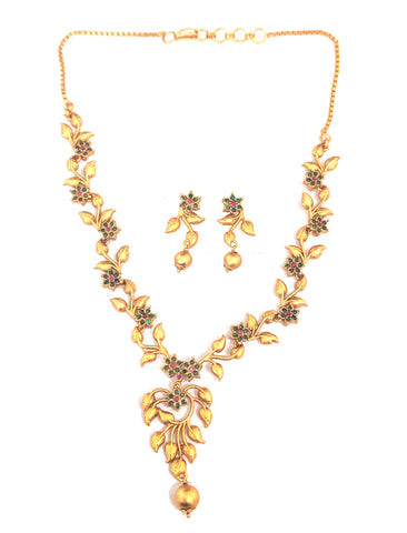 Matte gold finish CZ stone Flower design simple choker Necklace and Earring set