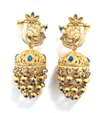 Bright gold plated multiple chain dangling peacock stud jhumka earring