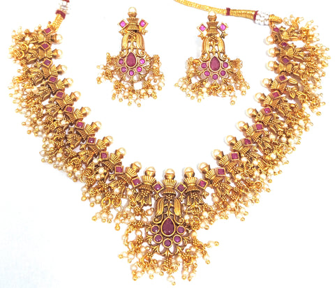 Traditional Matte gold guttapusalu choker necklace and stud earring set