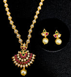 Micro gold polished pearl chain with cz pendant Necklace and stud Earring set