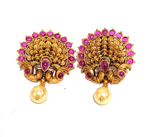 Dancing peacock matte gold finish kemp stone stud Earring