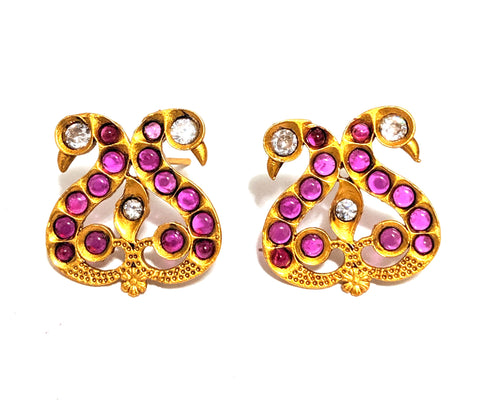 Dual Peacock matte gold finish kemp stone stud Earring