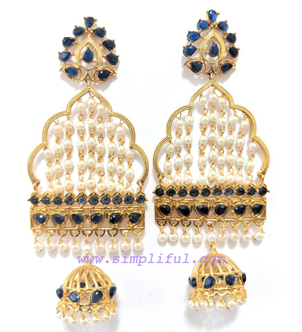 Party wear designer blue cz stone with pearl bead dangling center long unique earring