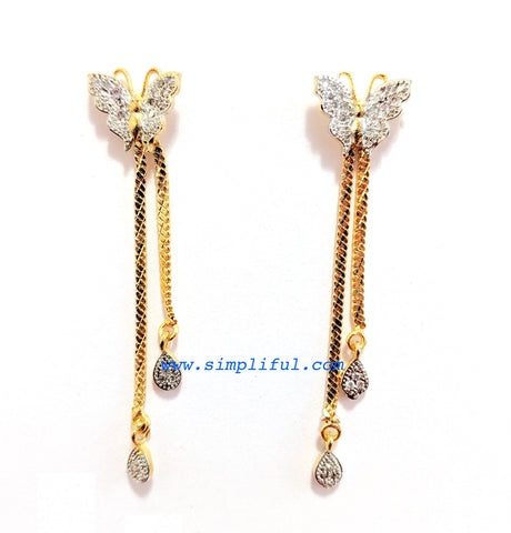 Butterfly stud with dual lined gold chain dangling earring