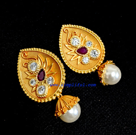 Matte meenakari work large tear drop stud with pearl dangle earring