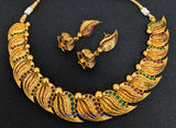 Unique antique gold finish Leaf Choker Necklace and jhumka Earring set
