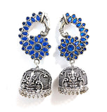 Polki stone large elephant stud with Lord Ganesha etched oxidized silver jhumka earring