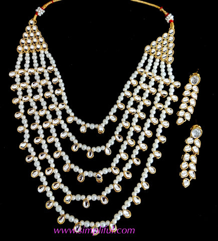 Statement kundan and pearl multi stranded Necklace and earring set