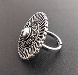 Oxidized curvy edged round Adjustable Finger ring