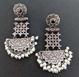 Celebrity style real silver design replica arc oxidized earring