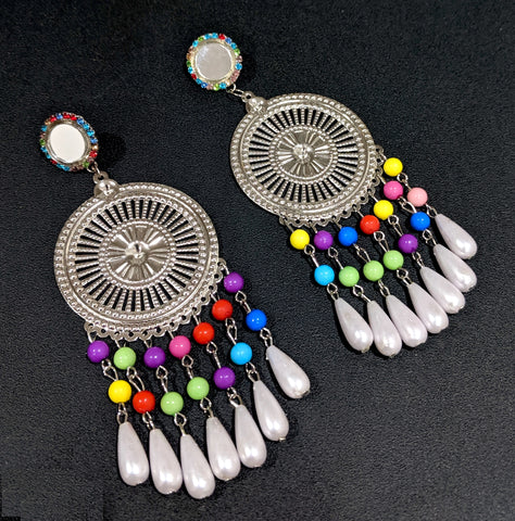 Round mirror stud with colorful bead dangling XXL long light weight earring