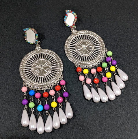 Curvy mirror stud with colorful bead dangling XXL long light weight earring