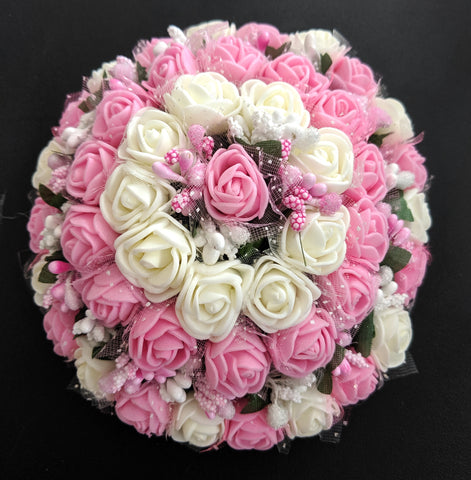 Baby Pink and white rose flower surrounded hair bun