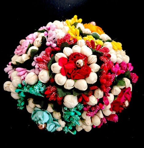 Multi color rose and jasmine flower surrounded hair bun