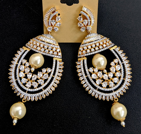 One gram gold plated designer long chandelier cz earring