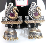 Peacock stud with jhumka hanging dual tone oxidized earring