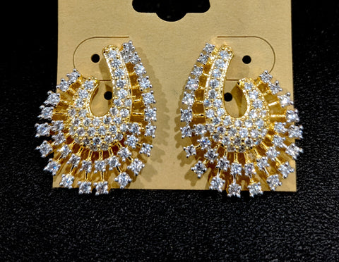 One gram gold plated designer stud cz earring