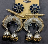 Double jhumka hanging designer Dual tone oxidized gold n silver finish Earring
