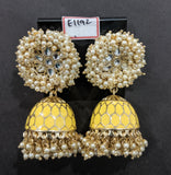 Pearl cluster surrounded large Flower stud with jhumka hanging enamel n pearl bead dangling earring