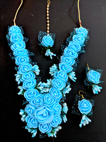 Artificial flower bold necklace and earring set with maang tikka