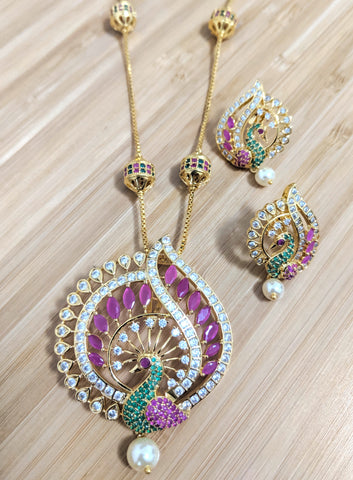 Peacock design CZ stone Large Pendant with ball chain necklace and stud earring set