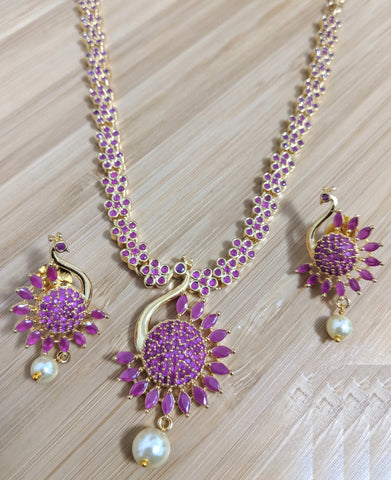 Peacock design one gram gold polished CZ stone choker necklace and earring set