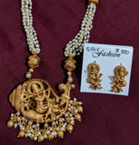 Pearl chain necklace with Lord Krishna Pendant and stud earring set