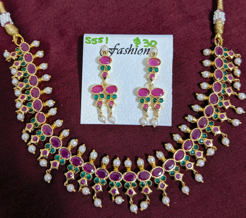 Traditional one gram gold polished CZ stone choker necklace and earring set