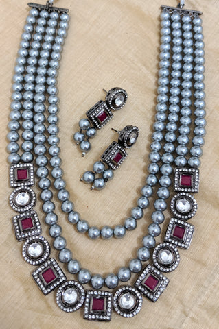 Celebrity design - Black polish charms with bold grey beads multi stranded chain and earring set