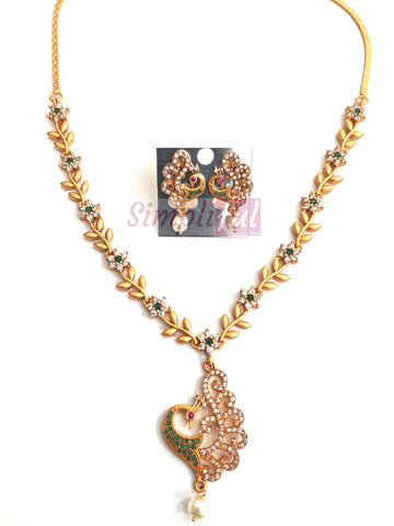 Matte gold finish CZ stone Peacock pendant choker necklace and earring set