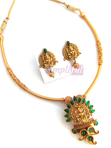 Goddess Lakshmi Pendant matte gold finish choker necklace and earring set