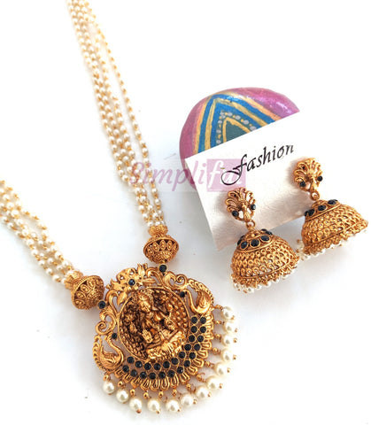 Goddess Lakshmi Pendant matte gold finish multi stranded pearl chain necklace and jhumka earring set