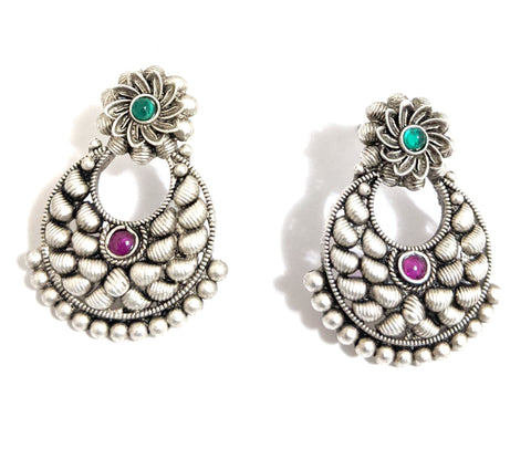 Bright silver matte finish Oxidized ramleela style Earring - Design 4