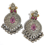 Dual tone oxidized designer earring with silver ghunghru beads
