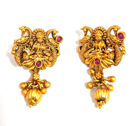 Bright Matte gold finish Goddess Lakshmi with dual Peacock stud Earring