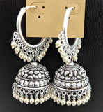 Bright silver matte finish Oxidized bali ring style medium jhumka earring with pearl cluster