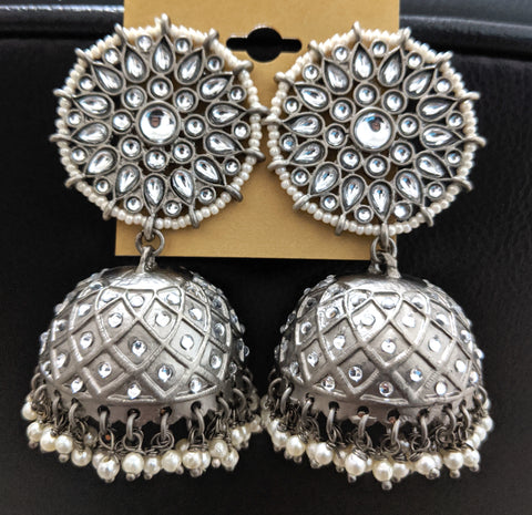 Pearl bead cluster Large jhumka earring with black plating