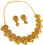 Traditional Goddess Lakshmi with dual elephant Choker Necklace and Stud Earring set