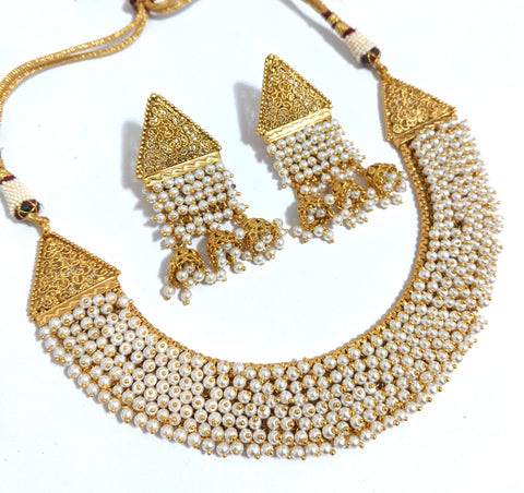 Pearl bead setting broad Choker Necklace and multiple jhumka hanging Earring set