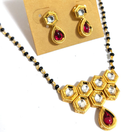 Mangalsutra - Designer hexagon kundan stone Pendant and Earring set - Single strand chain