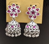 Bright silver matte finish Oxidized Flower stud small jhumka earring